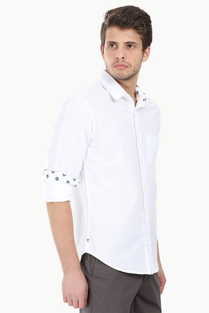 Solid Woven Shirt With Ikat Detail