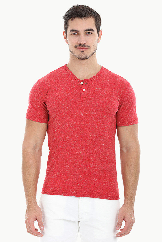 Speckled Yarn V Neck Henley