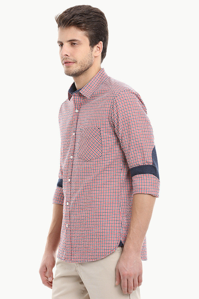 Summer Short Sleeve Plaid Seersucker Shirt