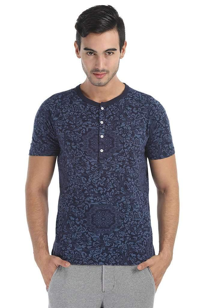 Super Soft Printed Short Sleeve Henley