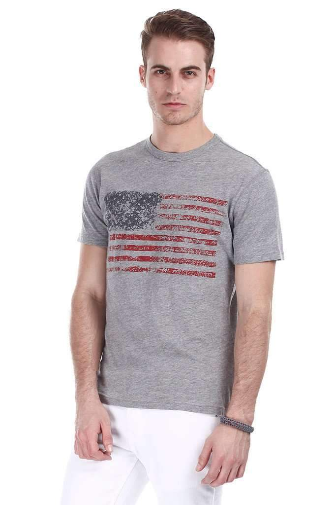 Super Combed Heather American Flag Print Tee