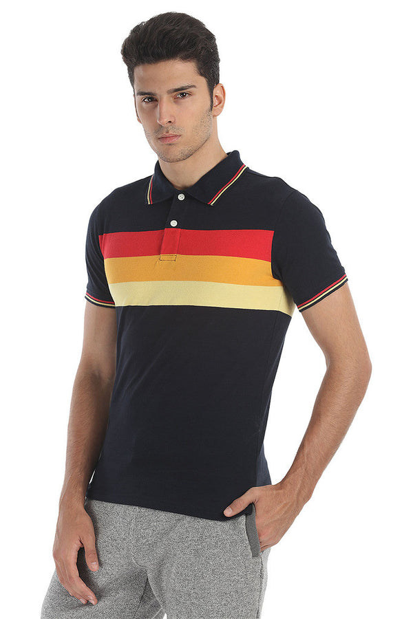 Triple Striper Short Sleeve Sports Polo Tee