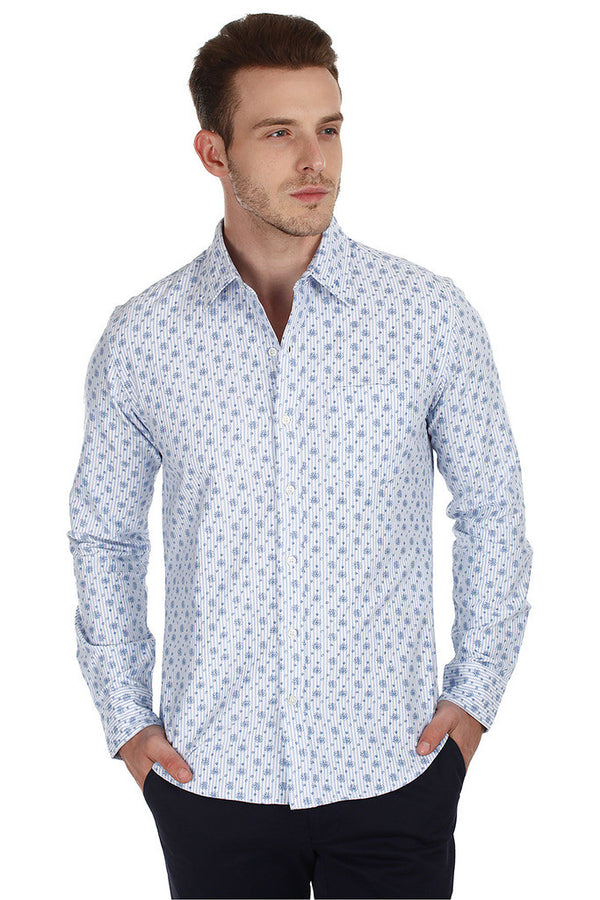 Woven Oxford Floral Printed Casual Shirt