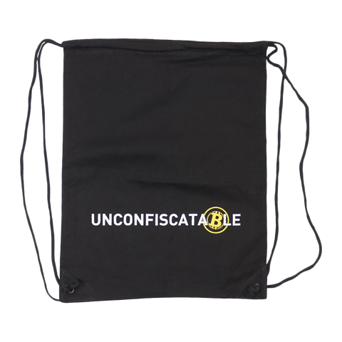 Unconfiscatable Black Canvas Drawstring Backpack