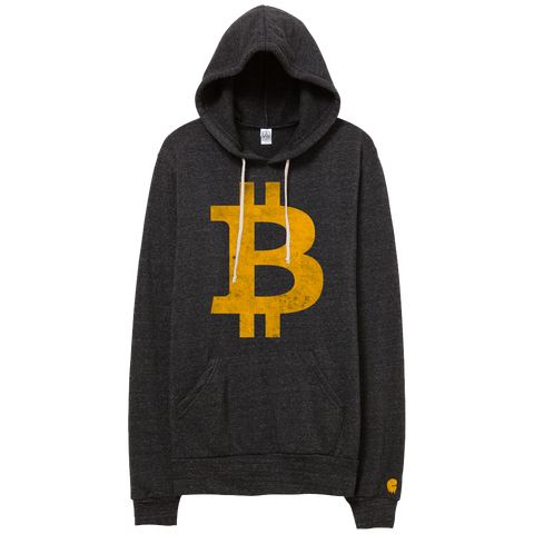 B Money (Adult) Vintage Eco-Black Fleece Pullover Hoodie - Bitcoin BTC Hoodie