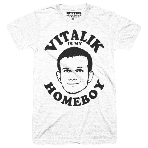 Vitalik Is My Homeboy (Adult) Vintage Heather White Tri-Blend - Ethereum ETH T-Shirt