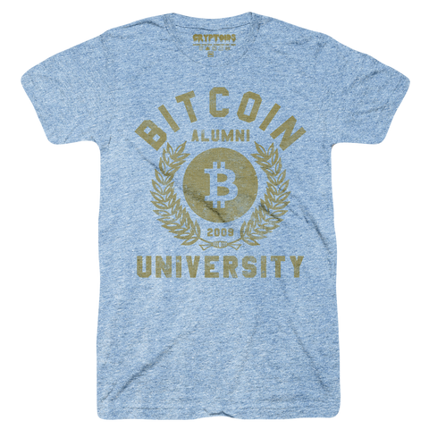 Bitcoin University (Adult) Vintage Heather Blue Tri-Blend - Bitcoin BTC T-Shirt