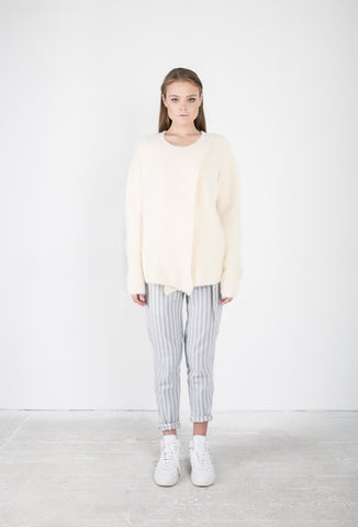 OSKAR white knit open front jumper and white and blue striped pants with tie
