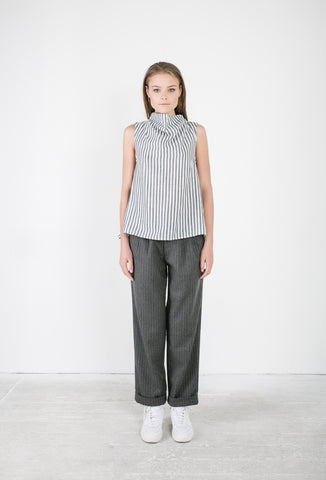 OSKAR striped skivvy babydoll top and pin-striped woollen pants