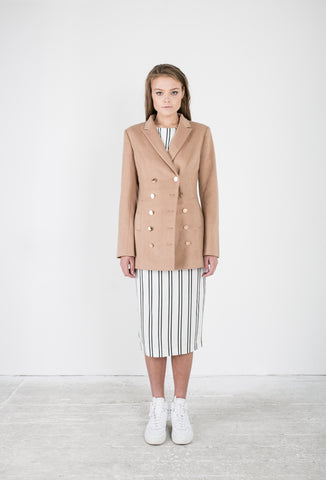 OSKAR camel double-breasted woollen trench and white striped midi skirt