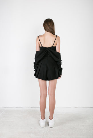 OSKAR black playsuit with draping sleeves