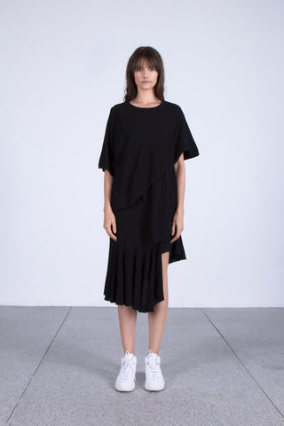 OSKAr black asymmetrical layered cotton top and ruffled skirt