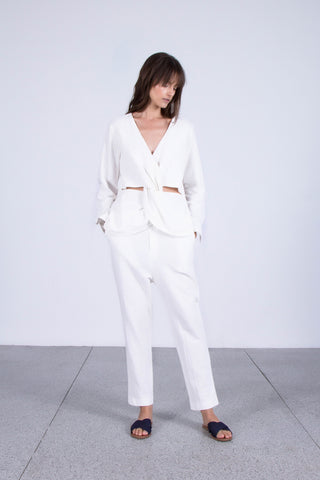 OSKAR white knot front shirt and white textured cotton harem