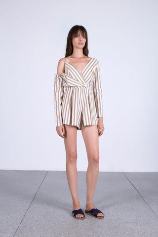 OSKAR striped off-shoulder playsuit