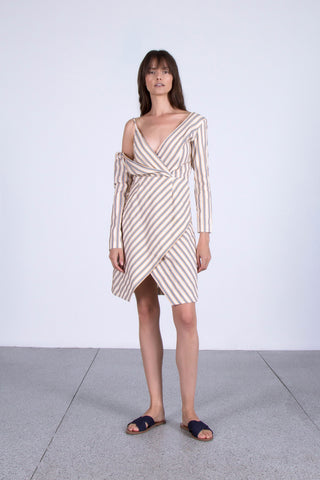 OSKAR striped off-shoulder dress