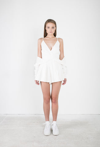 OSKAR white playsuit with draping sleeves