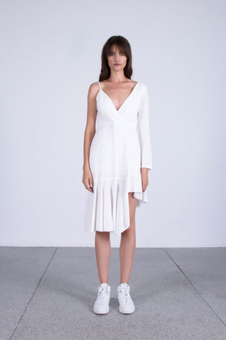 OSKAR white asymmetrical ruffled dress