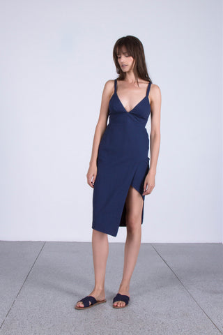 OSKAR navy tie-back asymmetrical dress