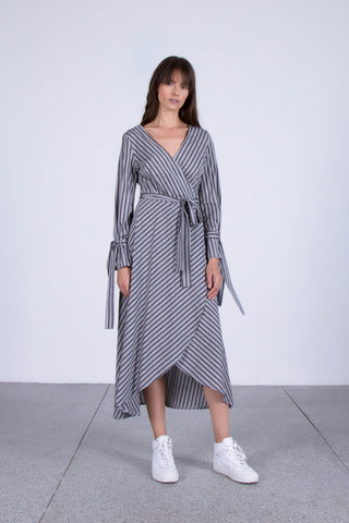 OSKAR grey striped wrap maxi dress