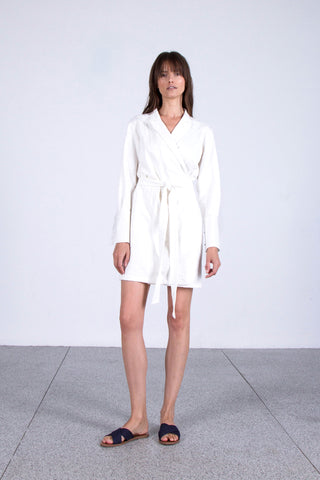 OSKAR white brocade wrap dress
