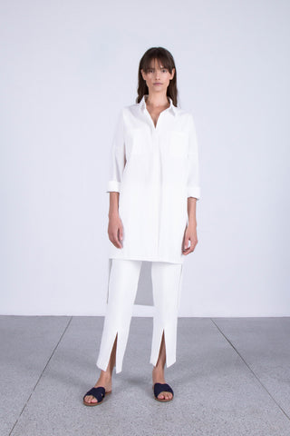 OSKAR white boyfriend shirt dress