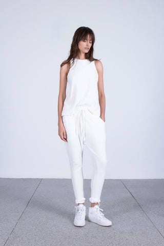 OSKAR white relaxed cotton singlet and trackies