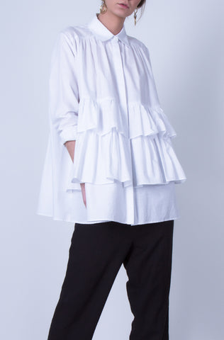 10 Spring Australian Fashion Styles That Embody Playful Minimalism - oskar ruffles cotton shirt