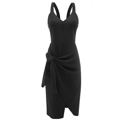 The Australian Fashion Online Lookbook Guide To The Ultimate Black Minimal Outfit - OSKAR Black ramie knotted dress