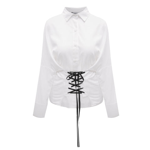 OSKER Australian Street Fashion Trends During MAFW - Preservation Of Your Soul white corset shirt