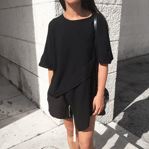 The Australian Fashion Online Lookbook Guide To The Ultimate Black Minimal Outfit - OSKAR Asymmetrical Cotton Top