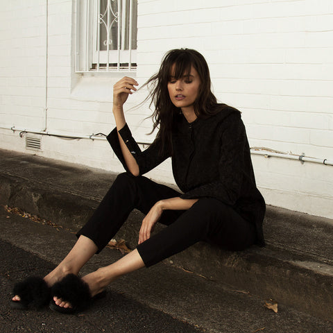 The Australian Fashion Online Lookbook Guide To The Ultimate Black Minimal Outfit - OSKAR black brocade cotton linen shirt