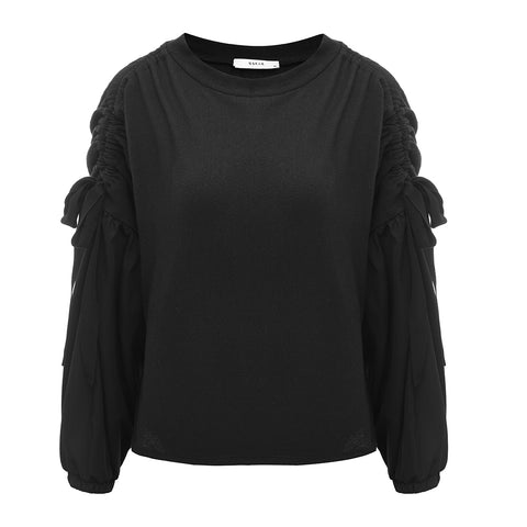 The Australian Fashion Online Lookbook Guide To The Ultimate Black Minimal Outfit - OSKAR black jumper with ruche sleeves