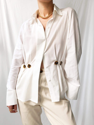 Floating Energy Peplum Shirt in Off-White