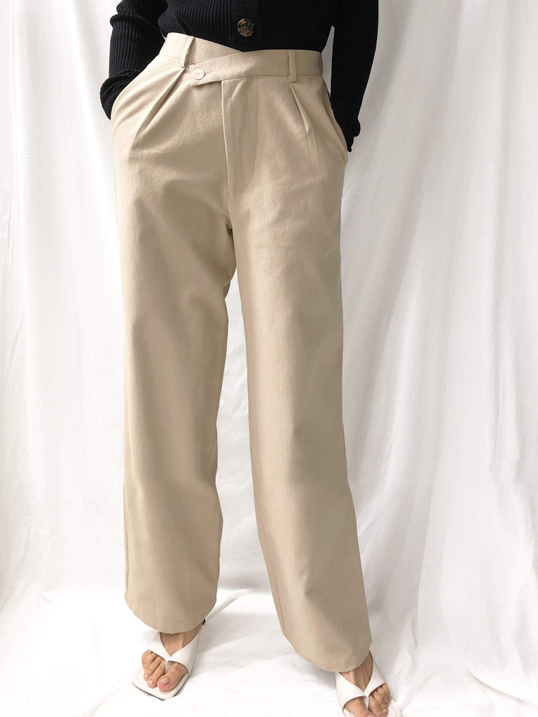Flowers Of Fields High-waisted Wide-leg Pants in Light Khaki
