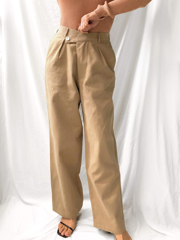 Flowers Of Fields High-waisted Wide-leg Pants in Mocha Brown