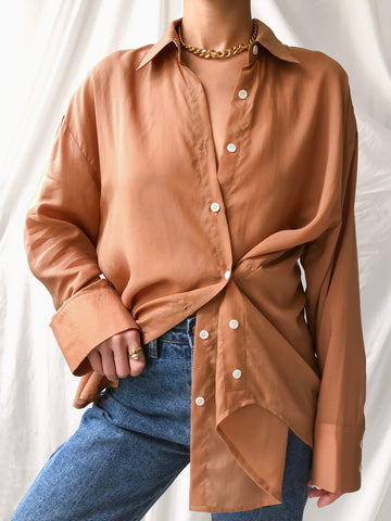 Sentimental Tencel Gathered Shirt in Clay