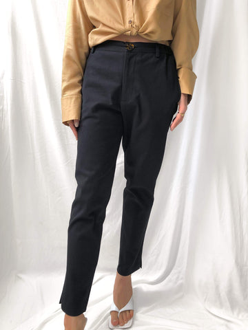 Valid Sunset High-waisted Straight Leg Trousers in Black