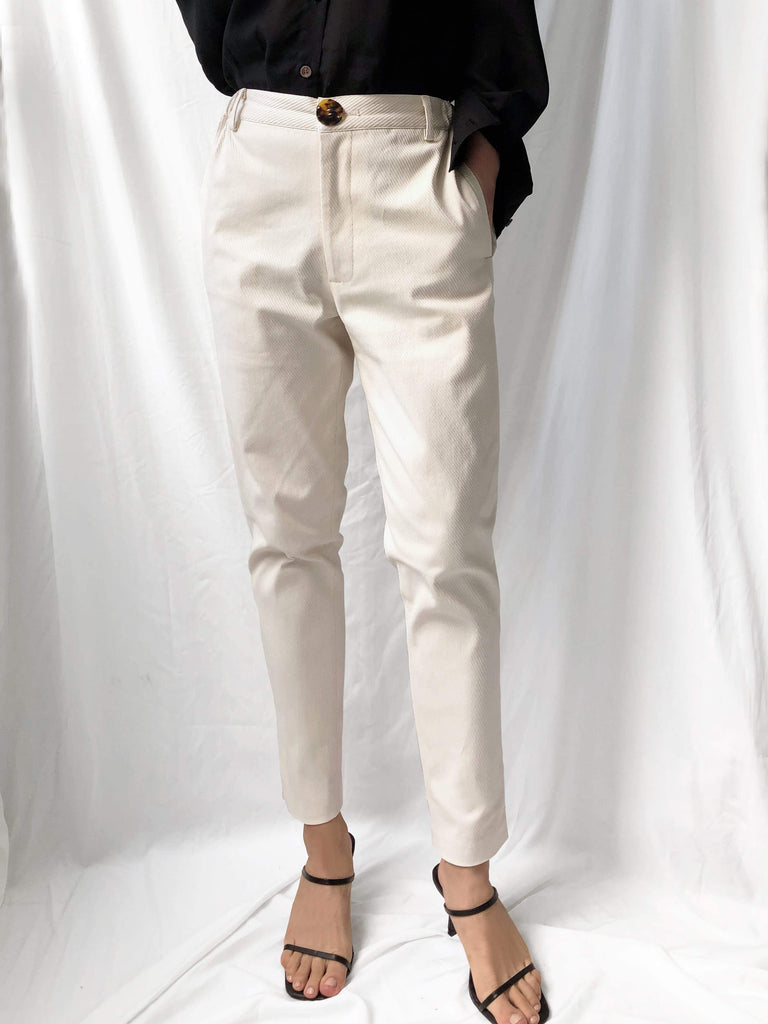 Valid Sunset High-waisted Straight Leg Trousers in Cream