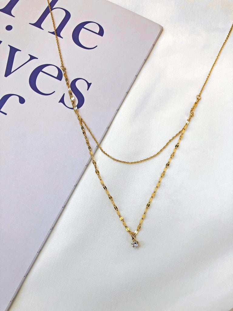 Together Double Layered Fine Chain w/ Zircon Necklace