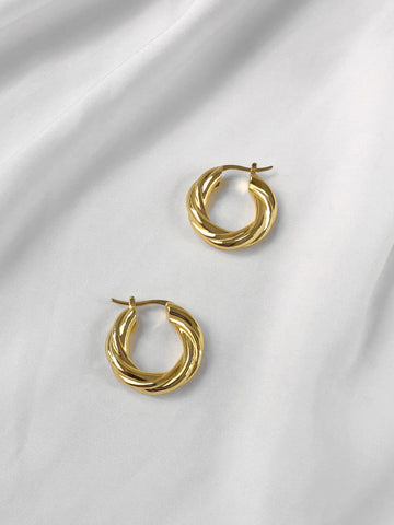 Heartbreak Thick Twist Tubular Hoop Earrings