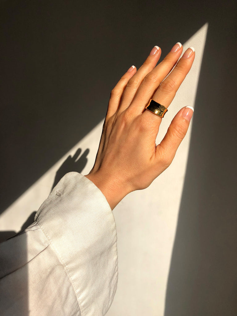Heartbreaker Wide Curved Sculptural Band Ring