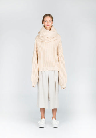 To Accomplish Oversized Neckline Skivvy Knit in Cream