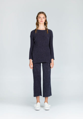 Absorb Everything Knit Chenille Flared Pants in Dark Grey