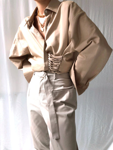 Pursuing Purpose High-waisted Belted Trousers in Taupe