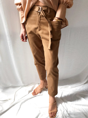 Pursuing Purpose High-waisted Belted Trousers in Dark Brown