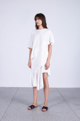 Illumined Corners Layered Cotton Top in Off-White