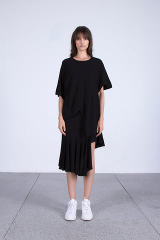 Illumined Corners Layered Cotton Top in Black