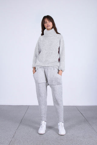 Forgotten Slumber Harem Knit Pants in Light Grey Specks