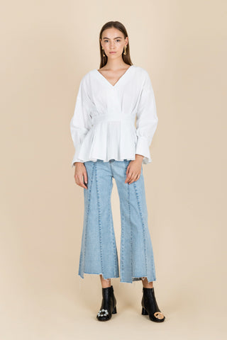 Touch Your Beautiful Flared Denim Jeans in Light Blue
