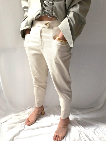Primary Tension High-waisted Straight Leg Trousers in Beige